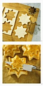 Making star vol au vents: cutting out pastry; puff pastry stars