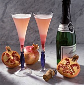 Pomegranate Cocktails with Grenadine and Champagne