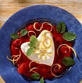 Cream Heart on Raspberry Sauce with Lemon Zest