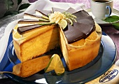 Orange & lime cake with marzipan chocolate fans