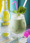 Frozen Mint Cocktail with Mineral Water
