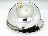 Silver Cloche with Brass Edging; Lid Partly Lifted