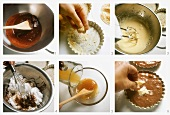 Making small chocolate tart with almonds and orange sauce