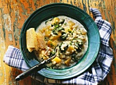 Swede & spinach stew with pearl barley & smoked pork rib