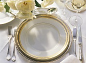 Single Place Setting with White Roses