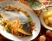 Blue Carp with Vegetables; Dill Sauce