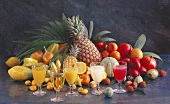 Still Life of Assorted Fruit with Assorted Fruit Juices
