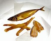 Whole Smoked Mackerel with Smoked Salmon and Haddock Pieces