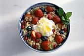 A Bowl of Muesli with Berries, Yogurt and Honey