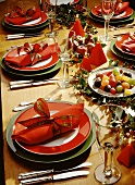 Christmas Table Setting with Candied Fruit