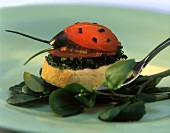 Tomato beetle with olive mousse on slice of white bread
