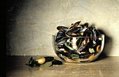 Cooked Blue Mussels in Glass Bowl