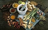 Assorted Exotic Spices with Mortar and Pestle