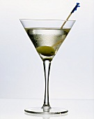Vodkas martini with an Olive on a Skewer