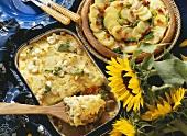Gyros meat casserole with potatoes & potato & savoy gratin