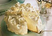 White cloud ice cream gateau with lime mousse & cream