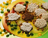 Lamb Cookies with Meringue and Coconut Icing; Jelly Beans