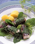 Eel with boiled potatoes & fresh herb sauce