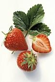 Fresh Ripe Strawberries with Strawberry Leaf