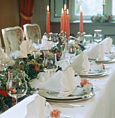 Festive Table Setting with Candles