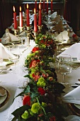 Flower Garland and Candleabra; Table Setting