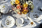 Table Setting with Flower Bouquet Centerpiece