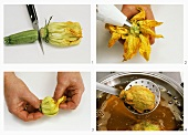 Preparing stuffed, deep-fried courgette flowers