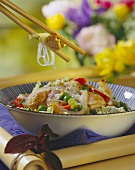 Asian glass noodle salad with Chinese vegetables and tuna