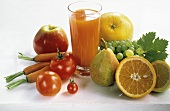 Mixed Vegetable and Fruit Juice in a Glass
