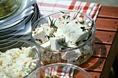 Sheep's cheese with herbs & coleslaw (for beach picnic)