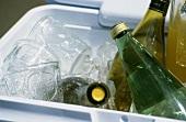 Assorted Bottled beverages and Glasses in a Cooler