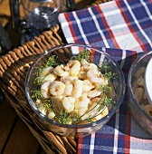 A Bowl of Shrimp Salad with Mustard Dressing and Dill Blossom