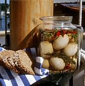 Pickled Eggs in a Spicy Marinade with Bread For a Boat Picnic