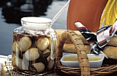 Pickled Eggs in a Glass Jar for a Picnic While Sailing