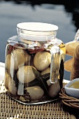 Pickled Eggs in a Jar For a Picnic