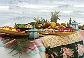 Caribbean Buffet Picnic Set Up on the Beach
