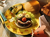 Hamburger with Clown Face and Frog Pickle
