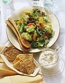 Baby Green Salad with Mandarin Oranges; Gorgonzola Cheese