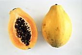 Whole Papaya and Half a Papaya