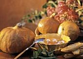 Pumpkin Soup with Tomato Garnish; Garlic Bread