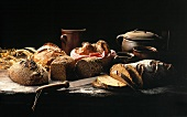 Still Life of Bread on a Wooden Table
