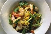Exotic Saffron Rice Dish with Shrimp Mango and Cilantro
