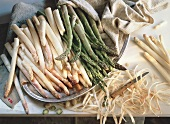 Green and White Asparagus on a Tray