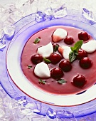 Cold Cherry Soup with Egg Whites