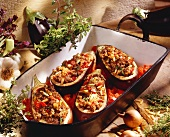 Eggplants Stuffed with Ground Meat on Tomato Sauce