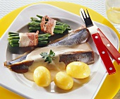 Two Maatjes Fillets in Cream Sauce; Green Beans and Potatoes