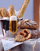Assorted Bread with a Cold Glass of Beer