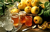 Three Jars of Quince Jelly; Fresh Quince in a Basket