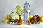 Still Life of Healthy Ingredients and Mineral Water