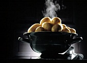Steaming Boiled Potatoes in a Strainer